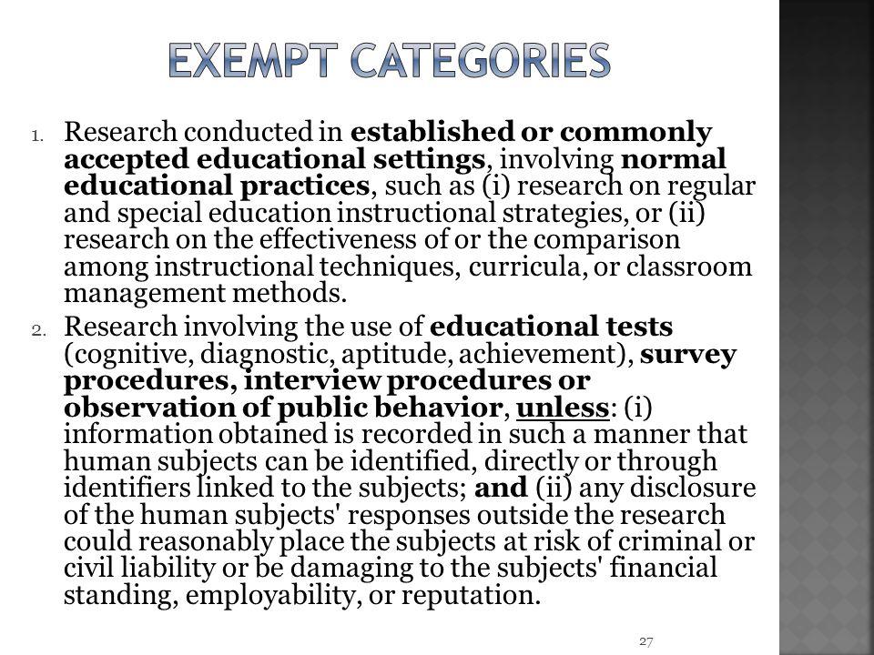 Exempt categories
