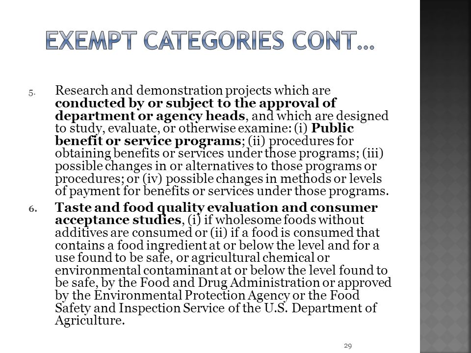 Exempt categories cont…