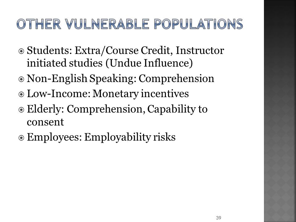 Other vulnerable populations