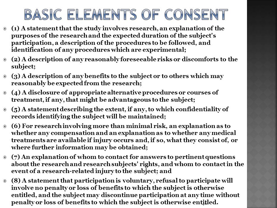 Basic Elements of consent