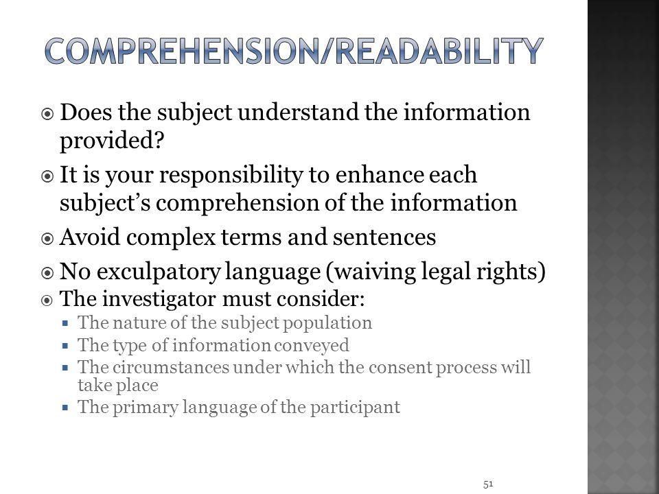 Comprehension/Readability