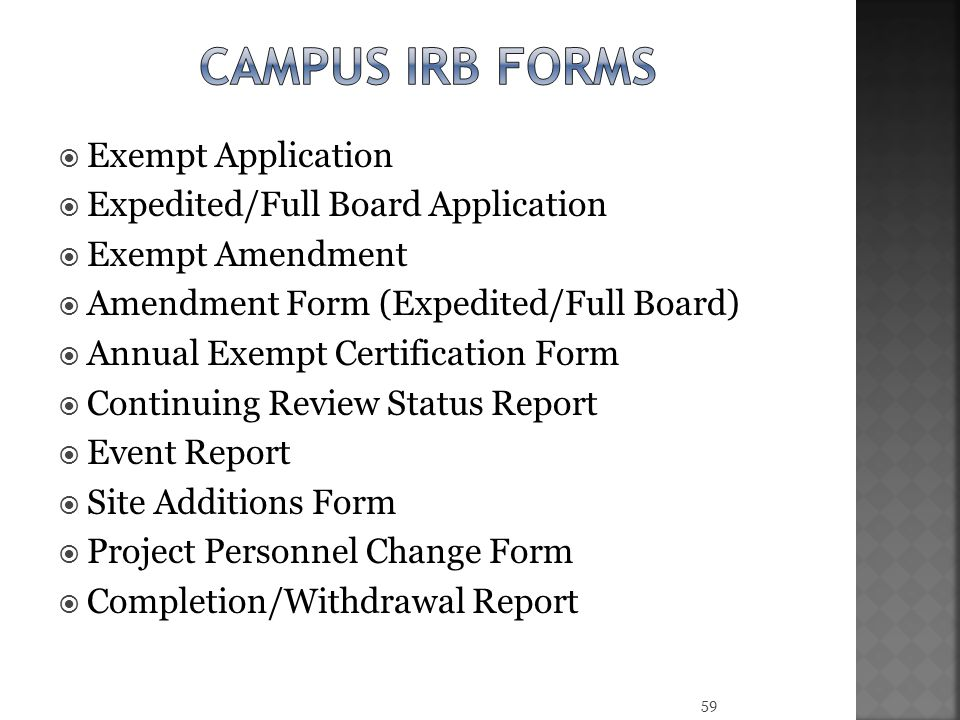 Campus irb forms Exempt Application Expedited/Full Board Application
