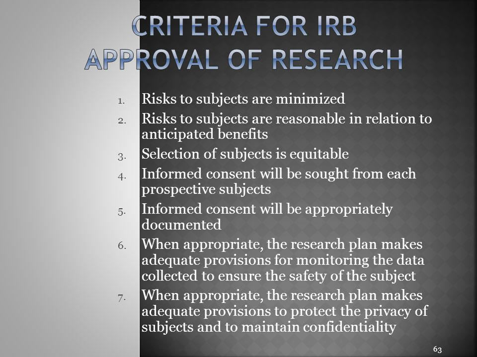 Criteria for irb approval of research