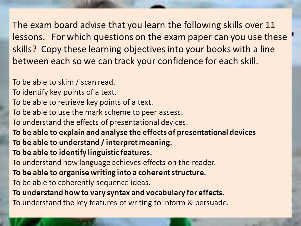 The exam board advise that you learn the following skills over 11 lessons.