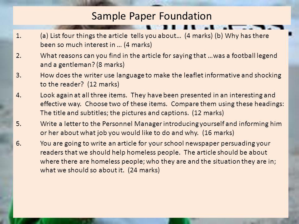 Sample Paper Foundation