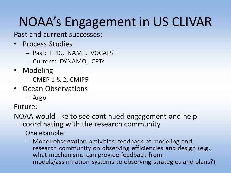NOAA's Engagement in US CLIVAR