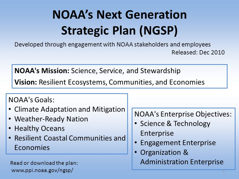 NOAA's Next Generation Strategic Plan (NGSP)