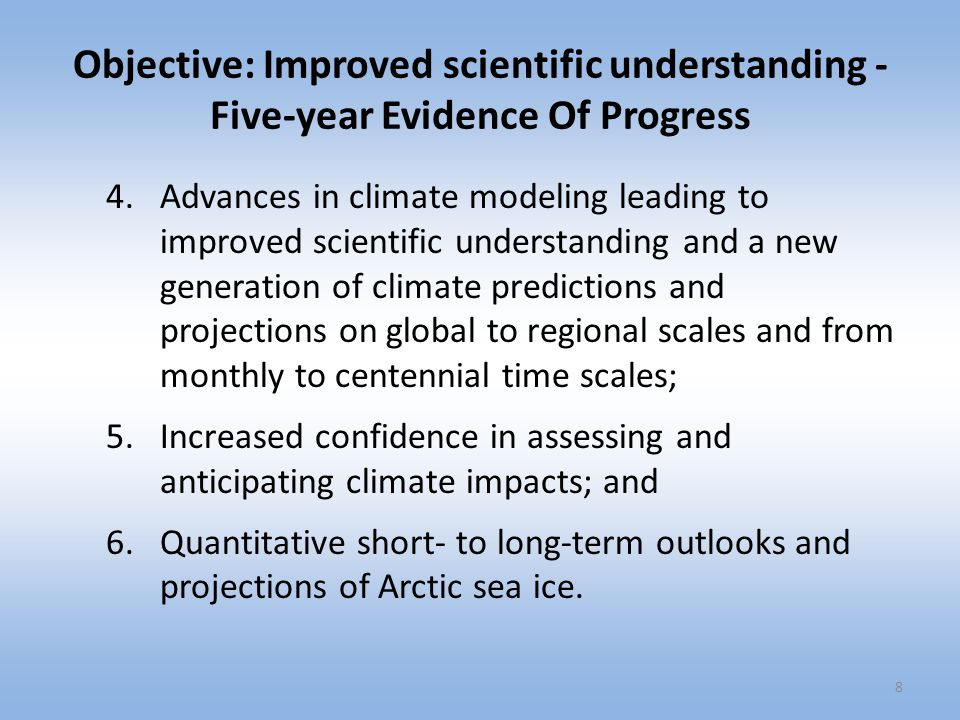 Objective: Improved scientific understanding - Five-year Evidence Of Progress