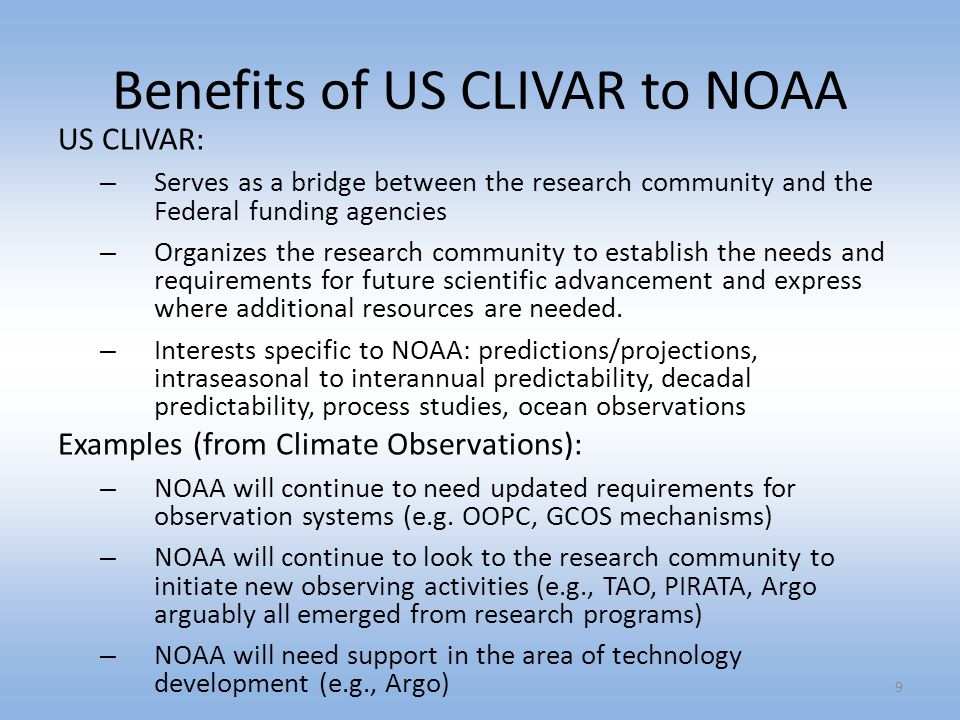 Benefits of US CLIVAR to NOAA