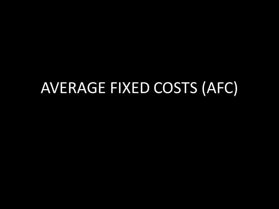 AVERAGE FIXED COSTS (AFC)