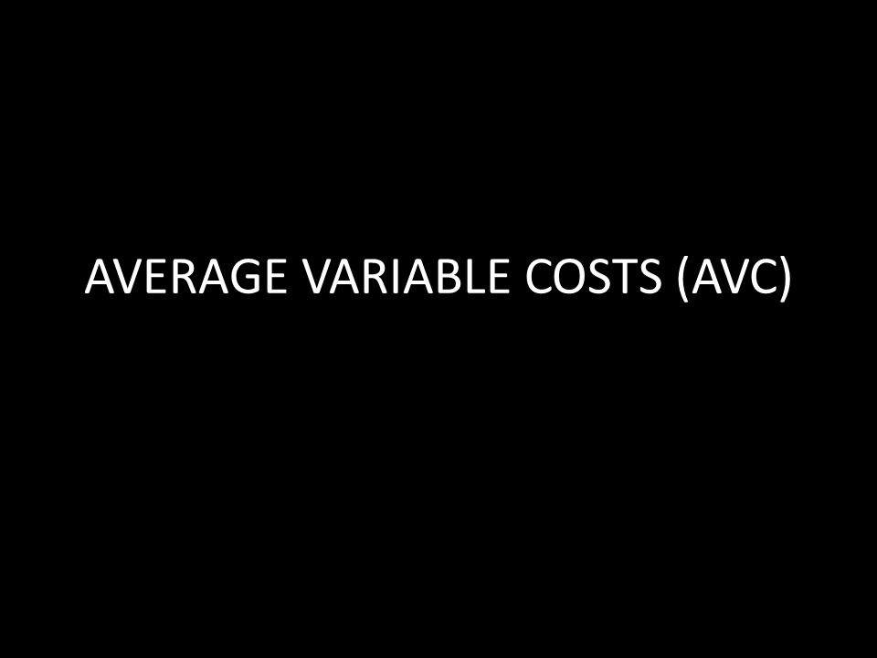 AVERAGE VARIABLE COSTS (AVC)