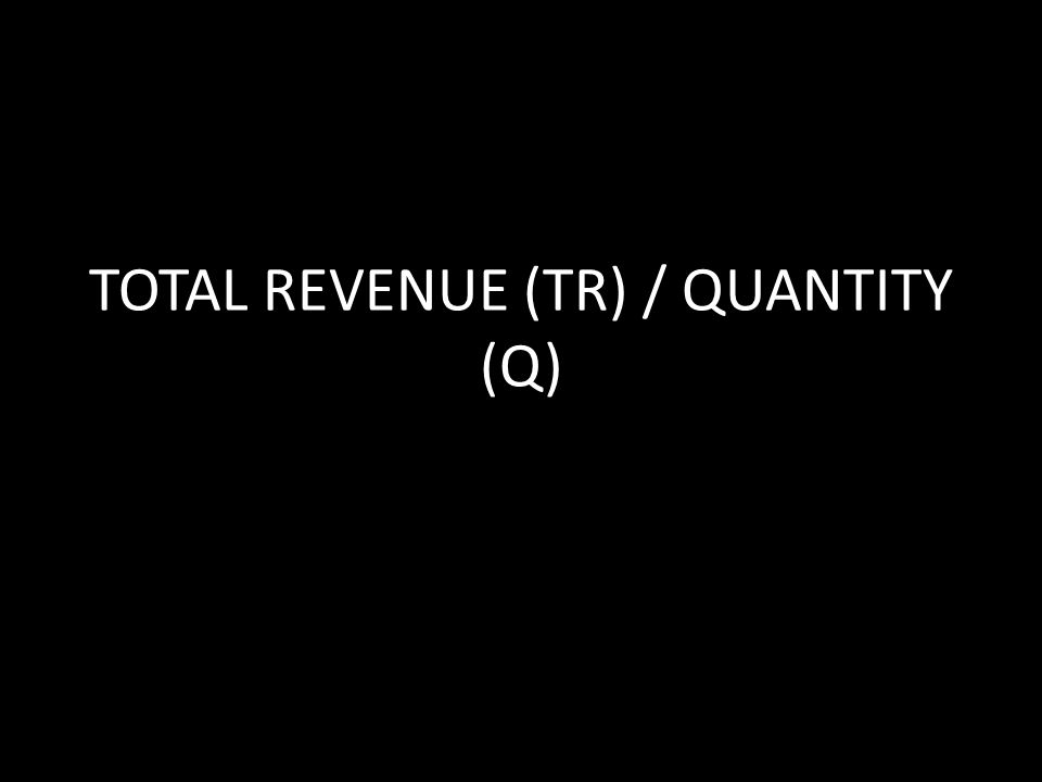 TOTAL REVENUE (TR) / QUANTITY (Q)