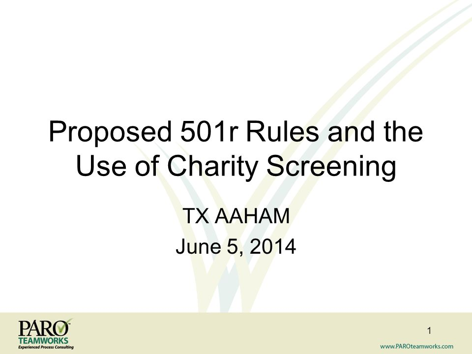 Proposed 501r Rules and the Use of Charity Screening