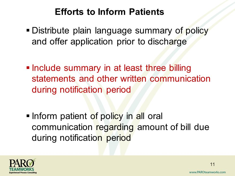 Efforts to Inform Patients