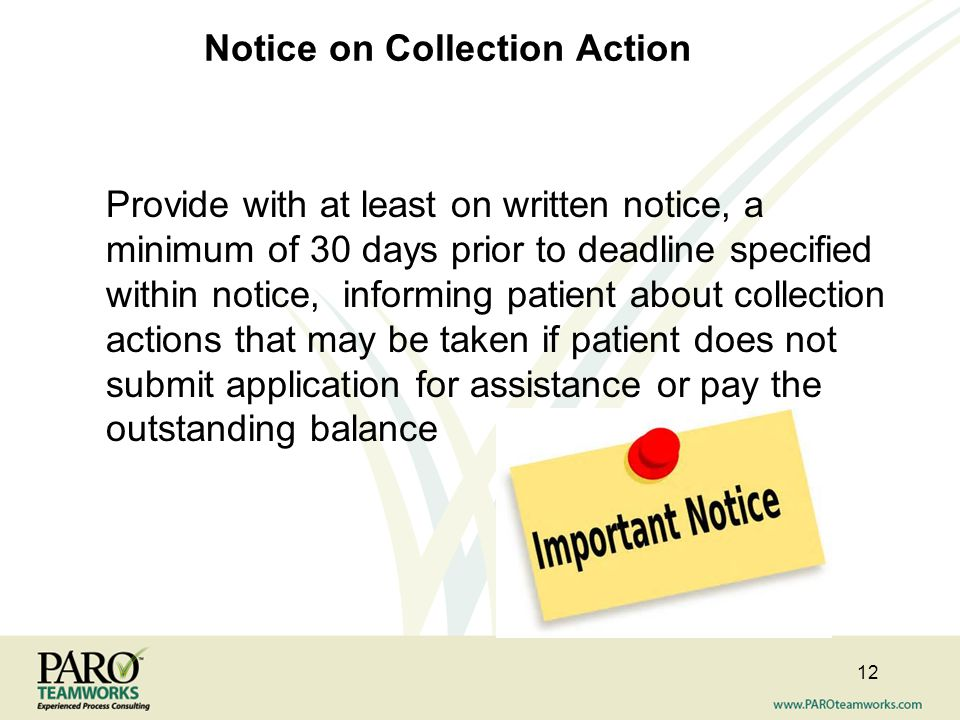 Notice on Collection Action