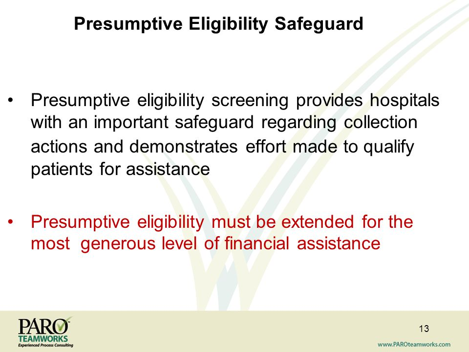 Presumptive Eligibility Safeguard