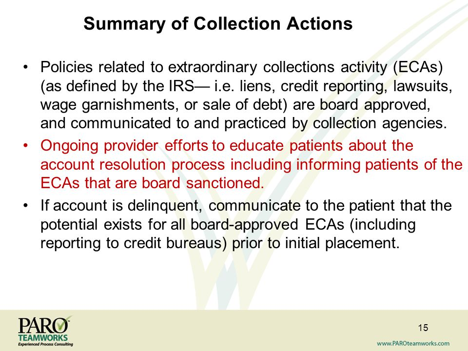 Summary of Collection Actions