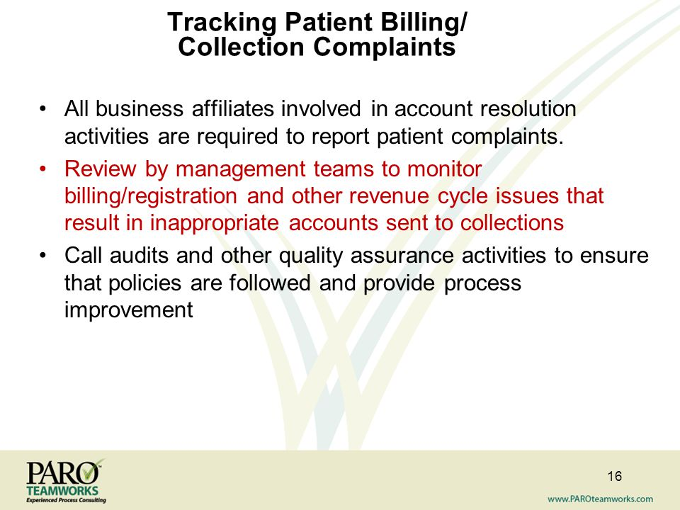 Tracking Patient Billing/ Collection Complaints