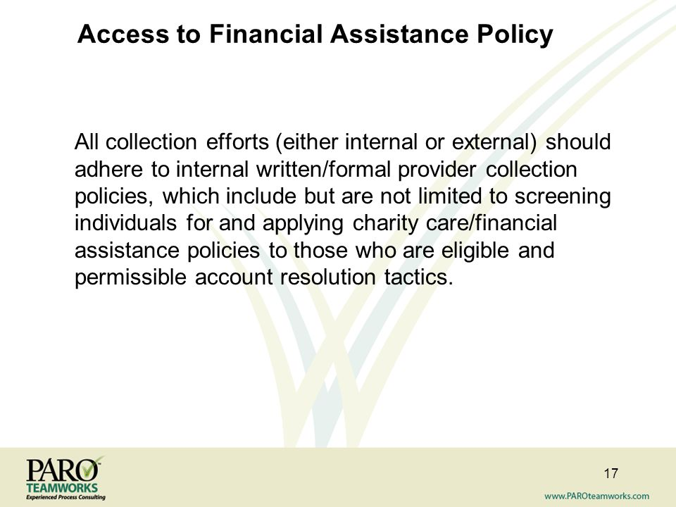 Access to Financial Assistance Policy