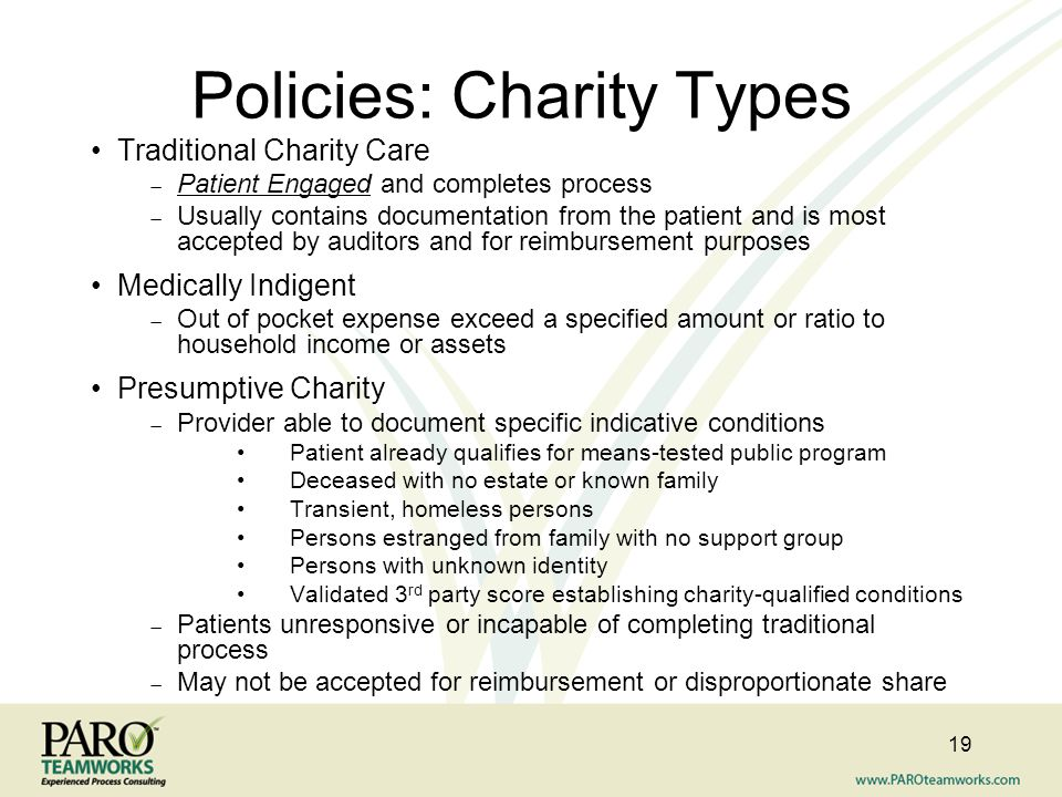Policies: Charity Types