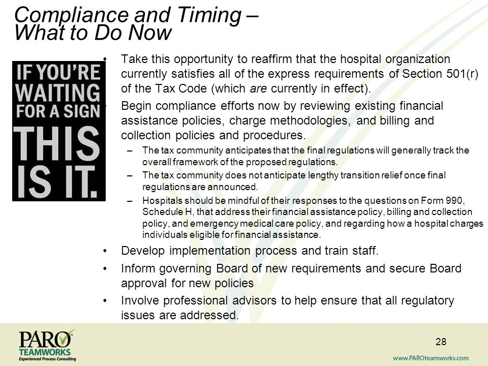 Compliance and Timing – What to Do Now