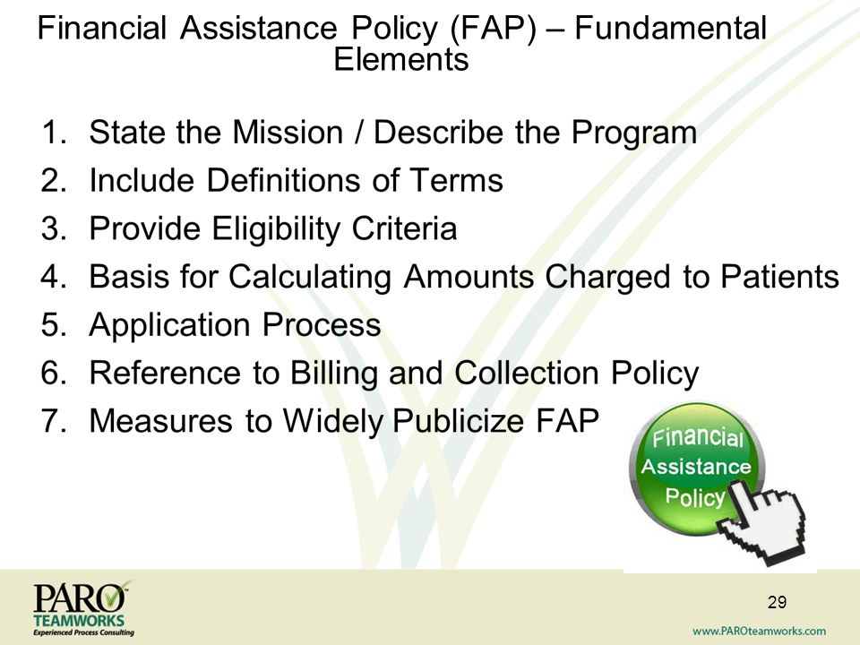 Financial Assistance Policy (FAP) – Fundamental Elements