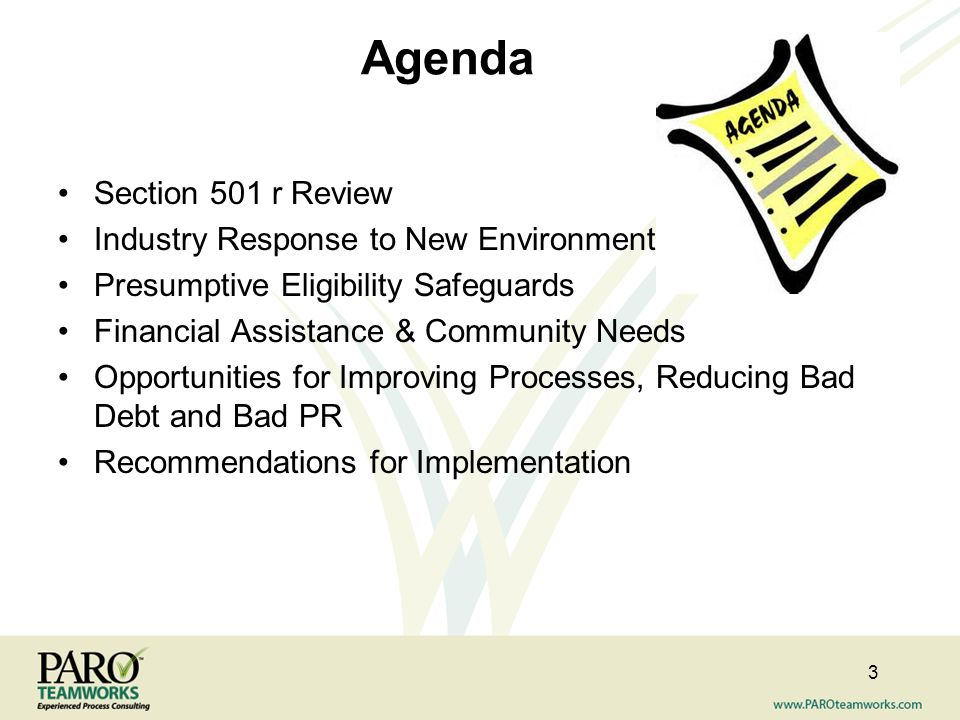 Agenda Section 501 r Review Industry Response to New Environment