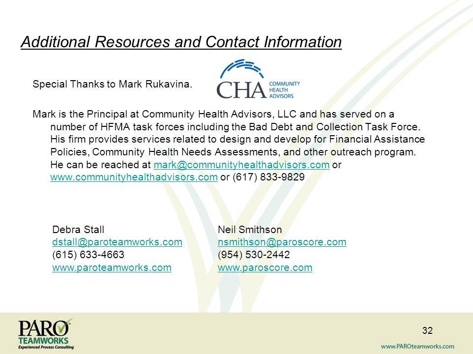 Additional Resources and Contact Information