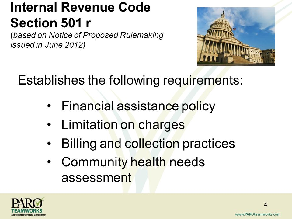 Internal Revenue Code Section 501 r (based on Notice of Proposed Rulemaking issued in June 2012)