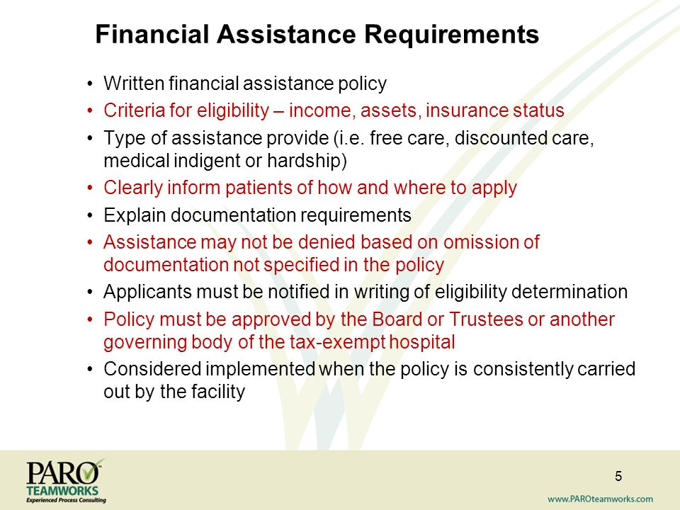 Financial Assistance Requirements