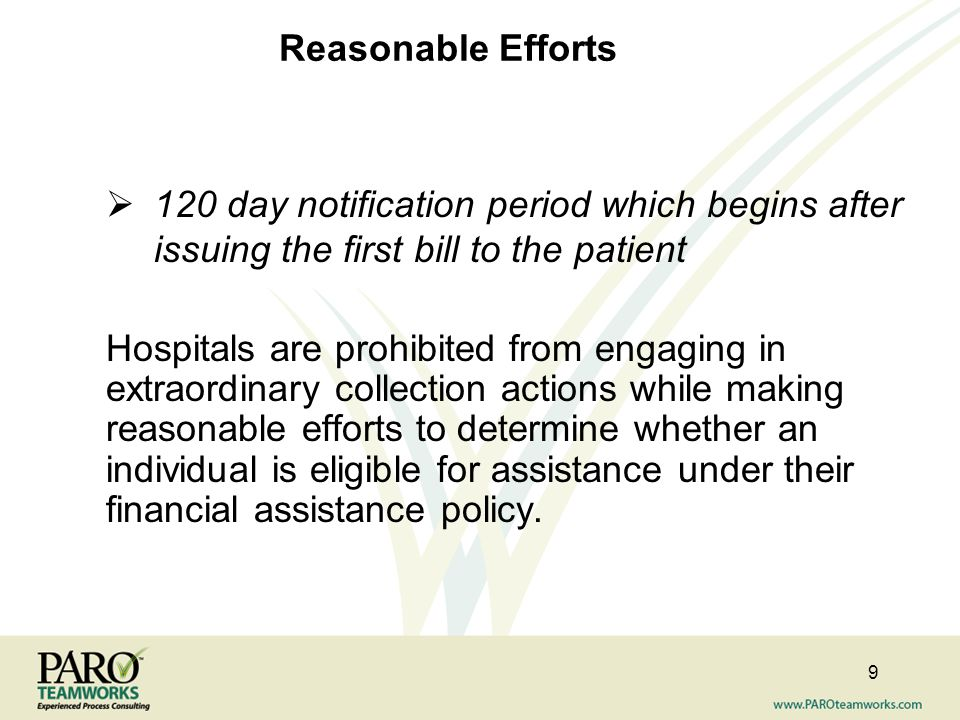Reasonable Efforts 120 day notification period which begins after issuing the first bill to the patient.