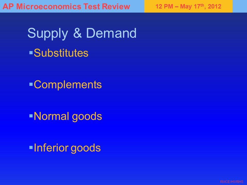 Supply & Demand Substitutes Complements Normal goods Inferior goods