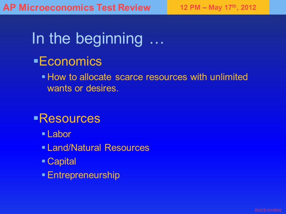In the beginning … Economics Resources