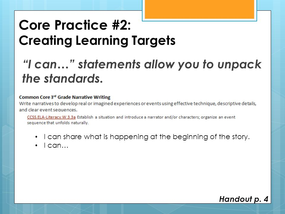 Core Practice #2: Creating Learning Targets