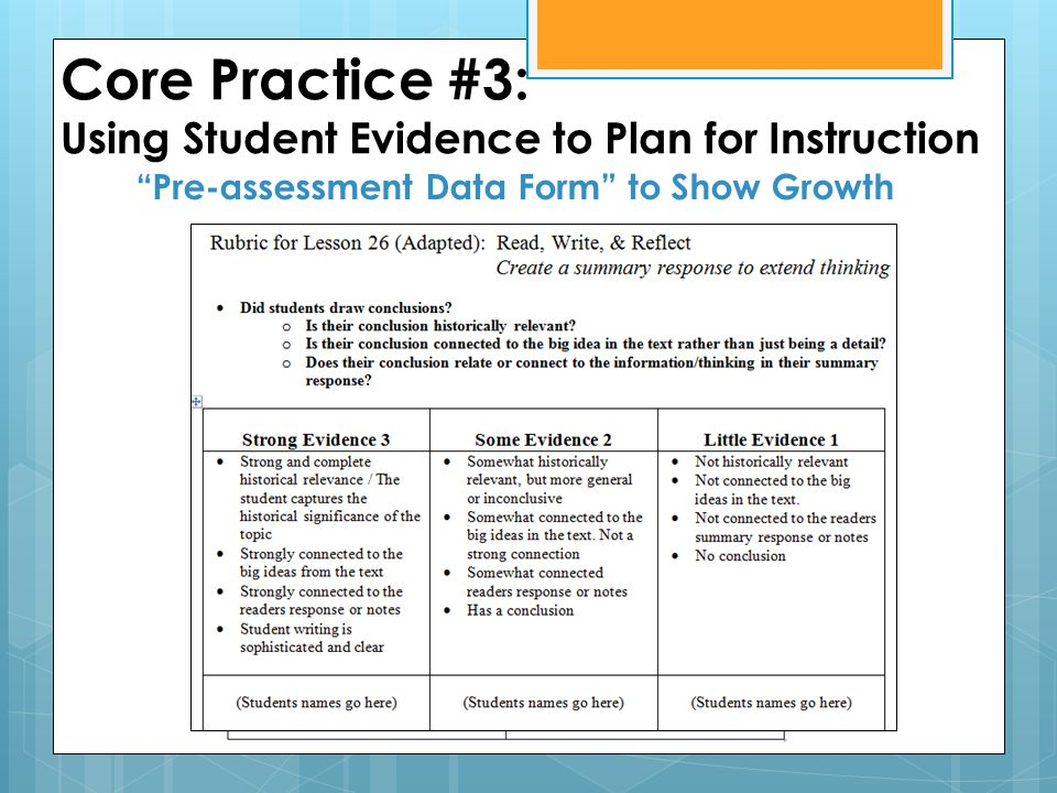 Core Practice #3: Using Student Evidence to Plan for Instruction