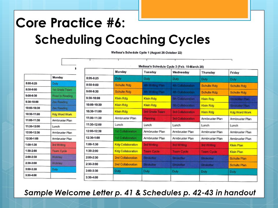 Core Practice #6: Scheduling Coaching Cycles