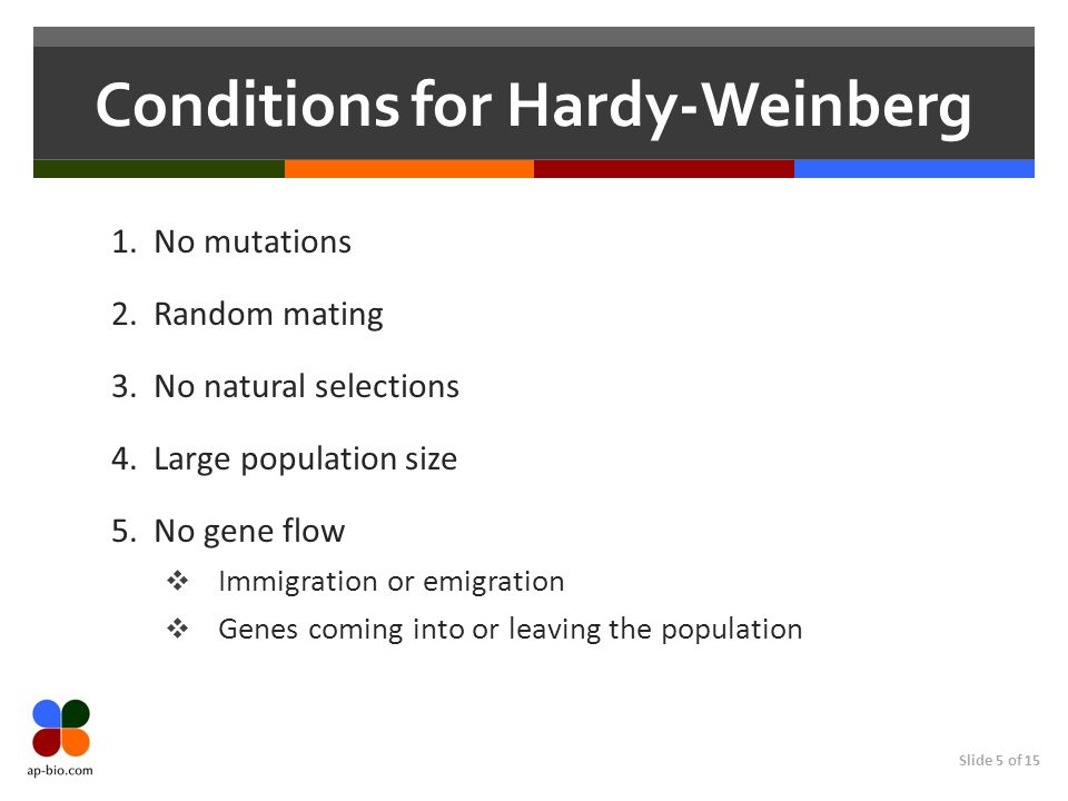 Conditions for Hardy-Weinberg