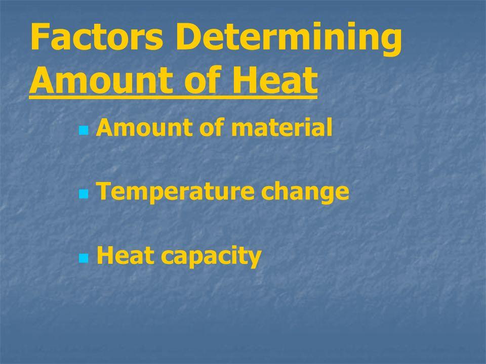 Factors Determining Amount of Heat