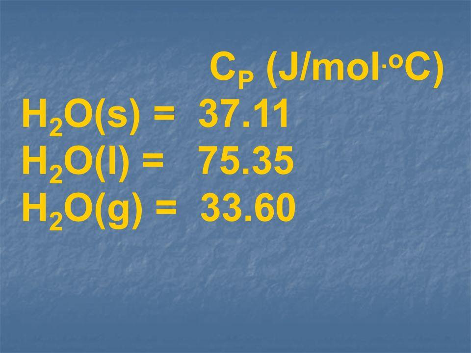 CP (J/mol.oC) H2O(s) = 37.11 H2O(l) = 75.35 H2O(g) = 33.60