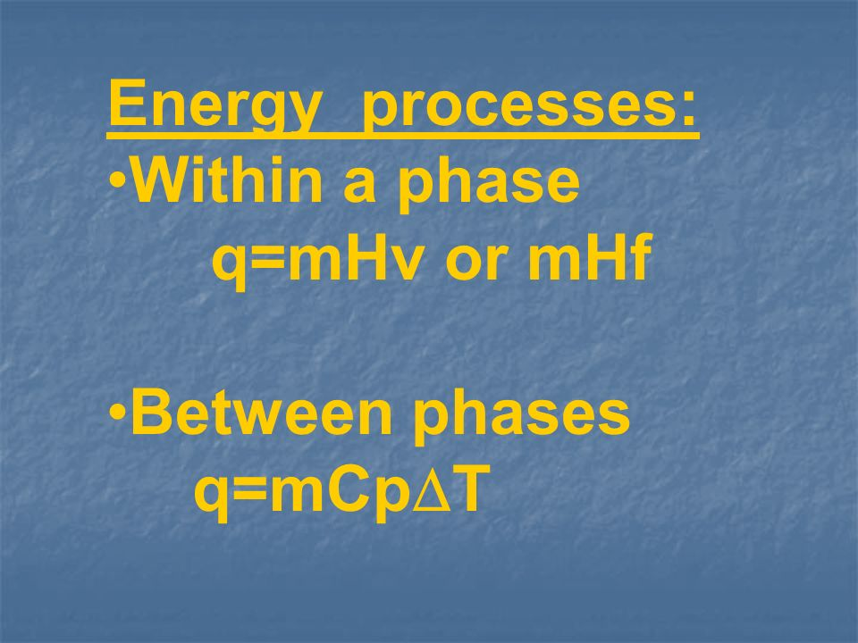 Energy processes: Within a phase q=mHv or mHf Between phases q=mCpT