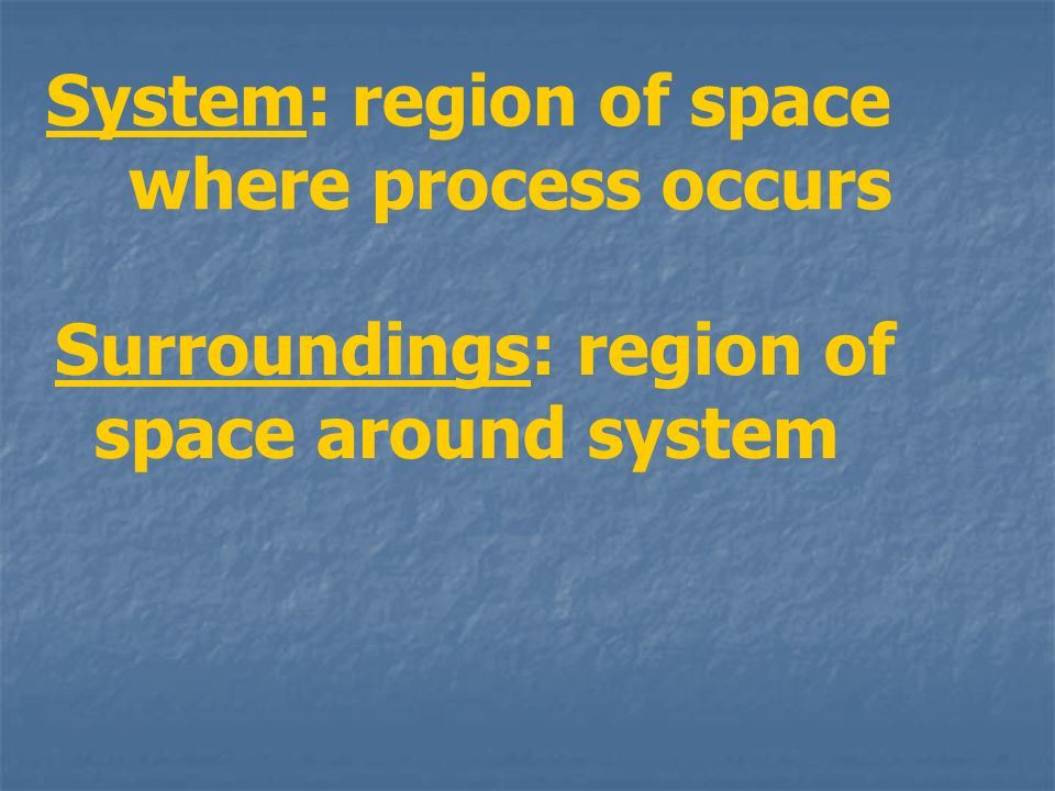 System: region of space where process occurs
