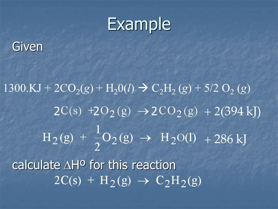 Example Given + 2(394 kJ) + 286 kJ calculate DHº for this reaction