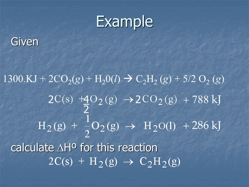Example Given kJ kJ calculate DHº for this reaction