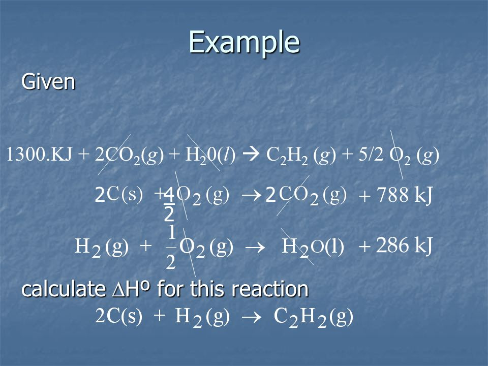 Example Given + 788 kJ + 286 kJ calculate DHº for this reaction