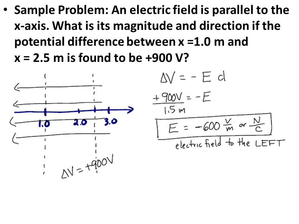 Sample Problem: An electric field is parallel to the x-axis