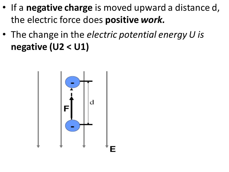 If a negative charge is moved upward a distance d, the electric force does positive work.