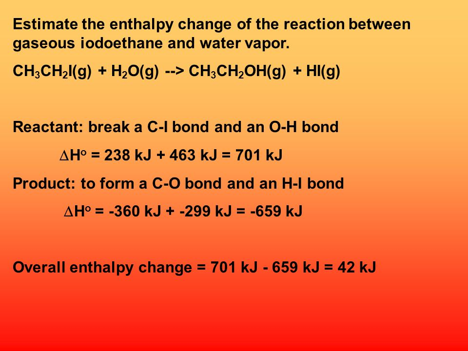 Estimate the enthalpy change of the reaction between gaseous iodoethane and water vapor.