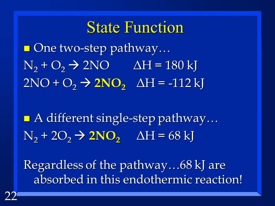 State Function One two-step pathway… N2 + O2  2NO ΔH = 180 kJ