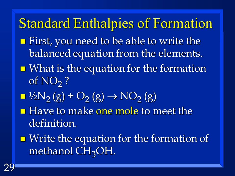 Standard Enthalpies of Formation
