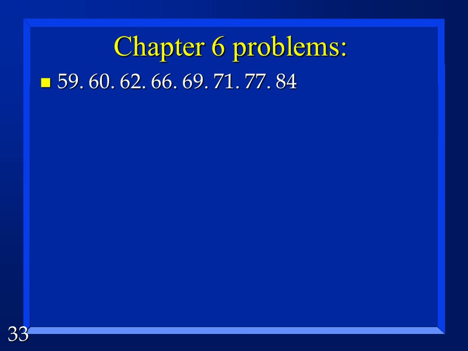 Chapter 6 problems: 59. 60. 62. 66. 69. 71. 77. 84